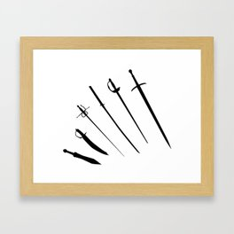 Sword Silhouettes Framed Art Print