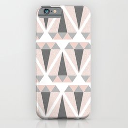 Geometric Diamond in Pink and Gray iPhone Case