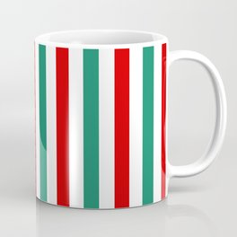 Peppermint Stripes Red Green and White | Medium Vertical Stripes Coffee Mug