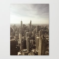 Chicago Buildings Sears Tower Sky Sun Color Photo Canvas Print