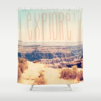 explore Shower Curtains featuring Explore by Bunhugger Design