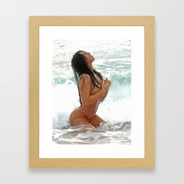 9425-SS Wet Woman Nude Beach Sand Surf Big Breasts Long Black Hair Sexy Erotic Art Framed Art Print