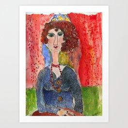 lady with orange beads Art Print