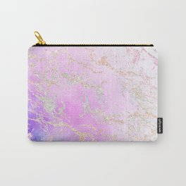 Modern rainbow glitter marble on nebula watercolor ombre Carry-All Pouch