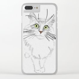 Green Eyed Greedy Cat Clear iPhone Case