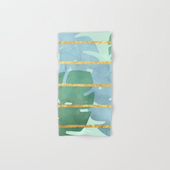 Leaves Pattern Golden Stripes Hand & Bath Towel