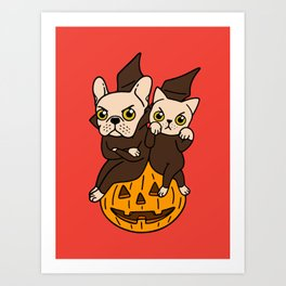 Cute Frenchie and kitten are Halloween buddies Art Print