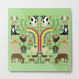 Noah's Farm Animals Metal Print