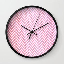 Watercolor Herringbone Chevron pattern - pink on white Wall Clock