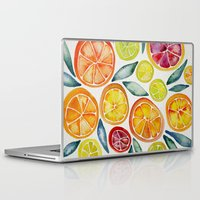 kitchen Laptop & iPad Skins featuring Sliced Citrus Watercolor by Cat Coquillette