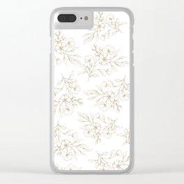 Shabby vintage pastel brown white elegant floral Clear iPhone Case
