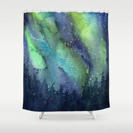 Galaxy Aurora Northern Lights Nebula Space Watercolor Shower Curtain