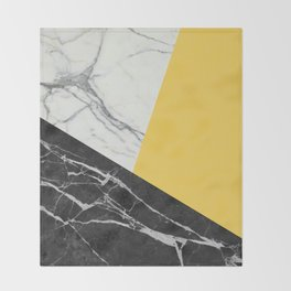Black and White Marble with Pantone Primrose Yellow Throw Blanket