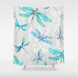 Dragonflies on Paisley Shower Curtain