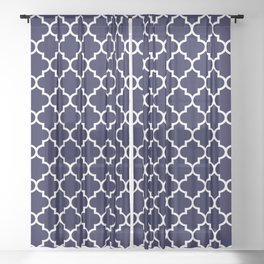 White Moroccan Quatrefoil On Navy Blue Sheer Curtain