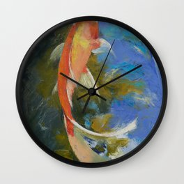 Butterfly Koi Painting Wall Clock