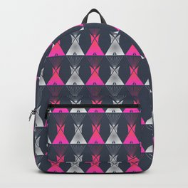 Pink Grey Native American Tipi Backpack