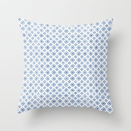 Muted royal blue delicate boho pattern. Throw Pillow