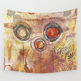 three brown flowers Wall Tapestry
