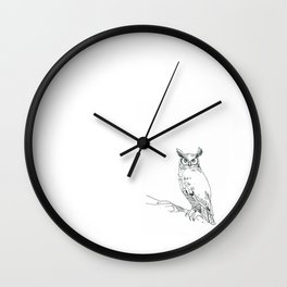 Perched Horned Owl Wall Clock
