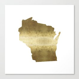 wisconsin gold foil state map Canvas Print