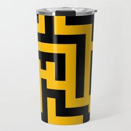 Black and Amber Orange Labyrinth Travel Mug