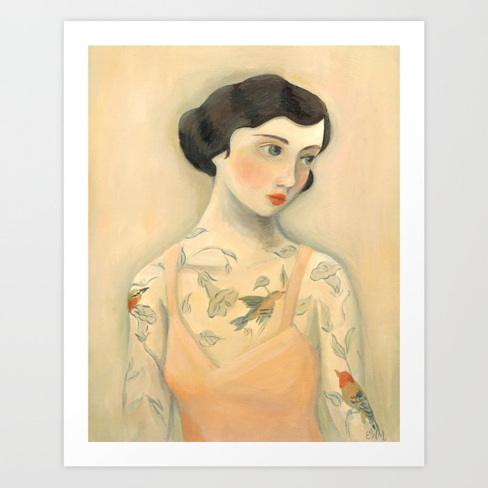 Tatooed Lady Rara Avis Art Print