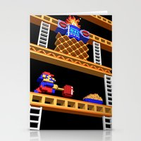 donkey kong Stationery Cards featuring Inside Donkey Kong stage 2 by Metin Seven