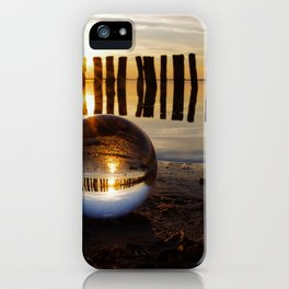 New world in a sphere, panorama of a lake in the sunset iPhone Case