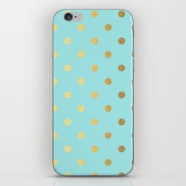 Gold polka dots on aqua background - Luxury turquoise pattern iPhone Skin
