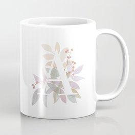 Fall Floral Monogram A - Rustic Alphabet Typography Coffee Mug