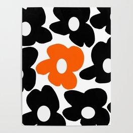 Large Orange and Black Retro Flowers White Background #decor #society6 #buyart Poster