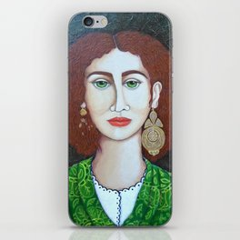 Woman with green eyes iPhone Skin