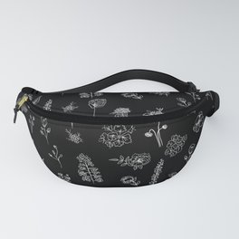 Black Wildflowers S Fanny Pack