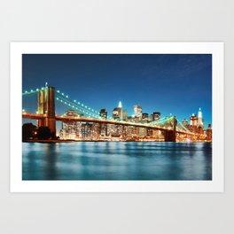 Brroklyn Bridge At Night Art Print