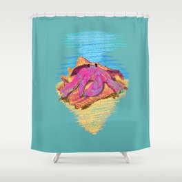 Colorful hermit crab in conch shell - Teal Shower Curtain