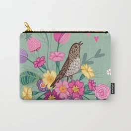 Birds in a Spring Garden on Green Carry-All Pouch