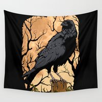 crow Wall Tapestries featuring Crow by Murat Sünger