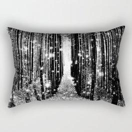 Magical Forest Black White Gray Rectangular Pillow
