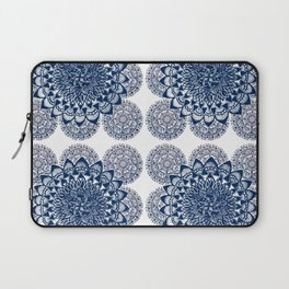 Navy and White Floral Mandalas Laptop Sleeve