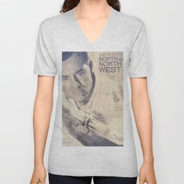 North by Northwest, Alfred Hitchcock, vintage movie poster, Cary Grant, minimalist Unisex V-Neck