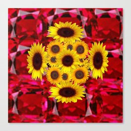 JULY RUBY RED GEMSTONES & YELLOW FLOWERS Canvas Print