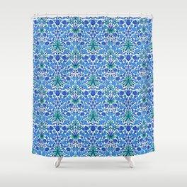 William Morris Hyacinth Print, Cobalt and Navy Blue Shower Curtain