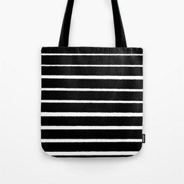 Rough White Thin Stripes on Black Tote Bag
