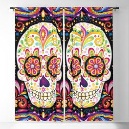 Psychedelic Sugar Skull - Colorful Art by Thaneeya McArdle Blackout Curtain