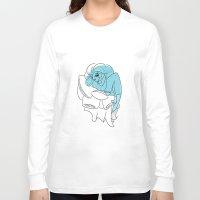 bookworm Long Sleeve T-shirts featuring Blue Bookworm  by Wynne Gettelfinger