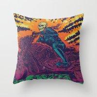doom Throw Pillows featuring DOOM RIDER by alexis ziritt