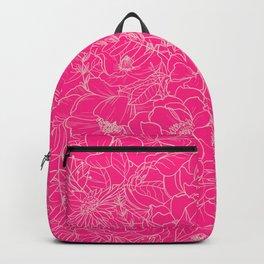 Hot Pink Floral Line Illustration Backpack