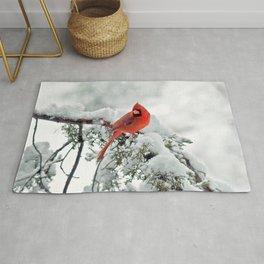 Cardinal on a Snowy Branch Rug