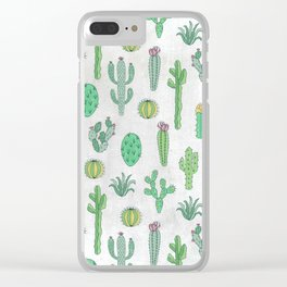 Cactus Pattern White Clear iPhone Case
